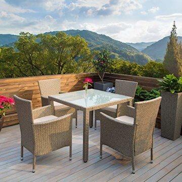 Casaria Poly Rattan Sitzgruppe Beige Grau 4 Stapelbare Stühle & 1 Tisch 7cm Dicke Auflagen Sitzgarnitur Gartenmöbel Set - 2