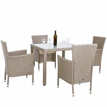 Casaria Poly Rattan Sitzgruppe Beige Grau 4 Stapelbare Stühle & 1 Tisch 7cm Dicke Auflagen Sitzgarnitur Gartenmöbel Set - 3