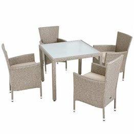 Casaria Poly Rattan Sitzgruppe Beige Grau 4 Stapelbare Stühle & 1 Tisch 7cm Dicke Auflagen Sitzgarnitur Gartenmöbel Set - 1