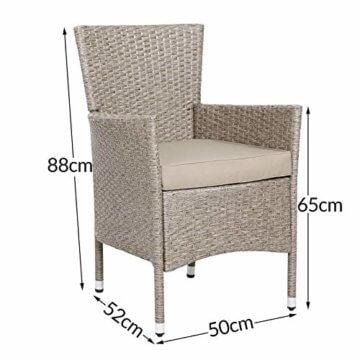 Casaria Poly Rattan Sitzgruppe Beige Grau 4 Stapelbare Stühle & 1 Tisch 7cm Dicke Auflagen Sitzgarnitur Gartenmöbel Set - 4