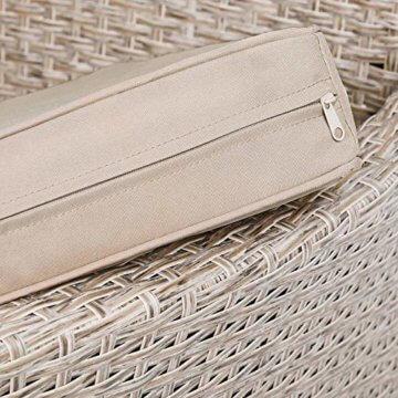 Casaria Poly Rattan Sitzgruppe Beige Grau 4 Stapelbare Stühle & 1 Tisch 7cm Dicke Auflagen Sitzgarnitur Gartenmöbel Set - 5