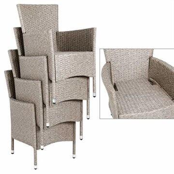 Casaria Poly Rattan Sitzgruppe Beige Grau 4 Stapelbare Stühle & 1 Tisch 7cm Dicke Auflagen Sitzgarnitur Gartenmöbel Set - 6