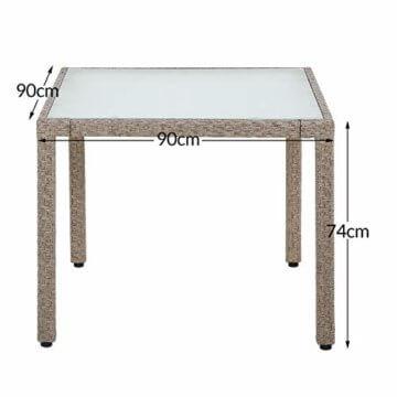 Casaria Poly Rattan Sitzgruppe Beige Grau 4 Stapelbare Stühle & 1 Tisch 7cm Dicke Auflagen Sitzgarnitur Gartenmöbel Set - 8