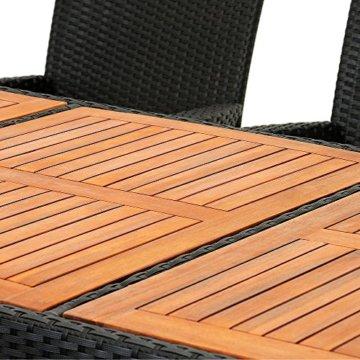 Casaria Poly Rattan Sitzgruppe Schwarz 7cm Dicke Auflagen 8 Breite Stühle & 1 Tisch Akazienholz Gartenmöbel Garten Set - 2