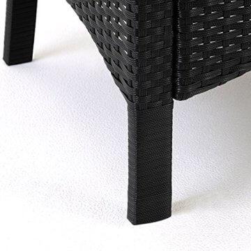 Casaria Poly Rattan Sitzgruppe Schwarz 7cm Dicke Auflagen 8 Breite Stühle & 1 Tisch Akazienholz Gartenmöbel Garten Set - 3