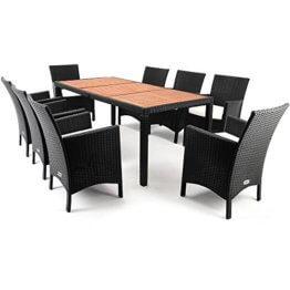 Casaria Poly Rattan Sitzgruppe Schwarz 7cm Dicke Auflagen 8 Breite Stühle & 1 Tisch Akazienholz Gartenmöbel Garten Set - 1