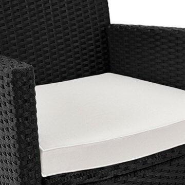 Casaria Poly Rattan Sitzgruppe Schwarz 7cm Dicke Auflagen 8 Breite Stühle & 1 Tisch Akazienholz Gartenmöbel Garten Set - 4