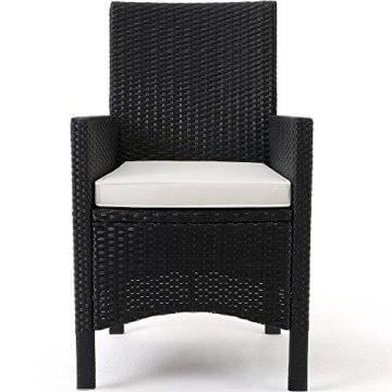 Casaria Poly Rattan Sitzgruppe Schwarz 7cm Dicke Auflagen 8 Breite Stühle & 1 Tisch Akazienholz Gartenmöbel Garten Set - 5