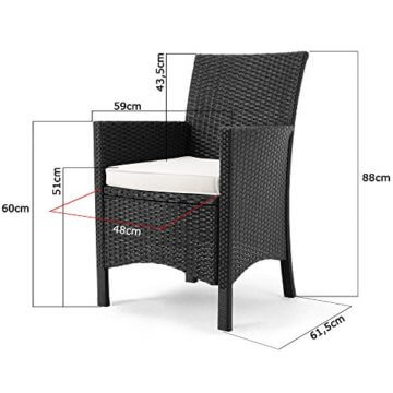Casaria Poly Rattan Sitzgruppe Schwarz 7cm Dicke Auflagen 8 Breite Stühle & 1 Tisch Akazienholz Gartenmöbel Garten Set - 6