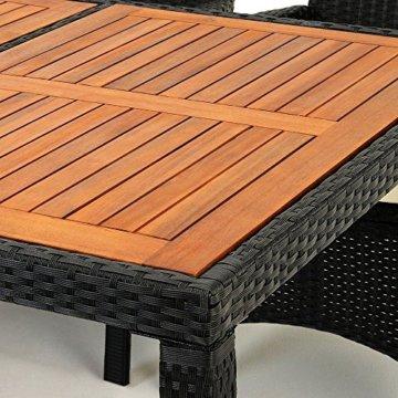 Casaria Poly Rattan Sitzgruppe Schwarz 7cm Dicke Auflagen 8 Breite Stühle & 1 Tisch Akazienholz Gartenmöbel Garten Set - 8