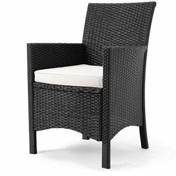 Casaria Poly Rattan Sitzgruppe Schwarz 7cm Dicke Auflagen 8 Breite Stühle & 1 Tisch Akazienholz Gartenmöbel Garten Set - 9