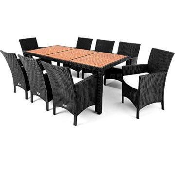 Casaria Poly Rattan Sitzgruppe Schwarz 7cm Dicke Auflagen 8 Breite Stühle & 1 Tisch Akazienholz Gartenmöbel Garten Set - 10