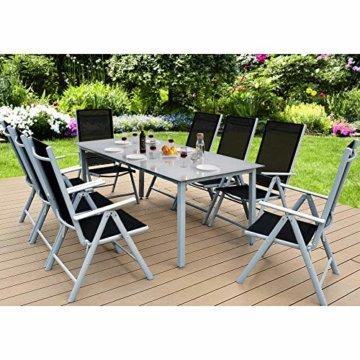 Casaria Sitzgruppe Bern 8+1 Aluminium 7-Fach verstellbare Hochlehner Stühle Milchglas Tisch Silber Gartenmöbel Set - 2