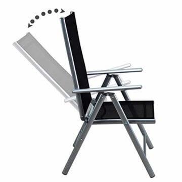Casaria Sitzgruppe Bern 8+1 Aluminium 7-Fach verstellbare Hochlehner Stühle Milchglas Tisch Silber Gartenmöbel Set - 3