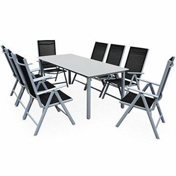 Casaria Sitzgruppe Bern 8+1 Aluminium 7-Fach verstellbare Hochlehner Stühle Milchglas Tisch Silber Gartenmöbel Set - 1