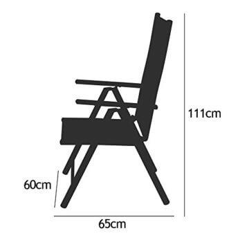 Casaria Sitzgruppe Bern 8+1 Aluminium 7-Fach verstellbare Hochlehner Stühle Milchglas Tisch Silber Gartenmöbel Set - 5