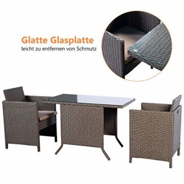 COSTWAY 3tlg. Poly Rattan Gartenmöbel, Rattanmöbel Lounge Set Gartenlounge Gartengarnitur Sitzgarnitur, Sitzgruppe inkl. Glasplatte und Sitzkissen - 2