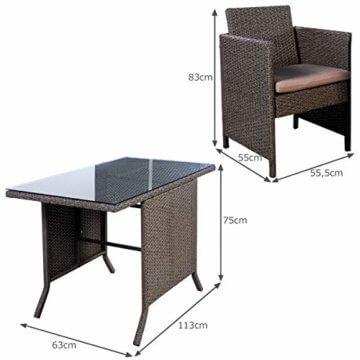 COSTWAY 3tlg. Poly Rattan Gartenmöbel, Rattanmöbel Lounge Set Gartenlounge Gartengarnitur Sitzgarnitur, Sitzgruppe inkl. Glasplatte und Sitzkissen - 3