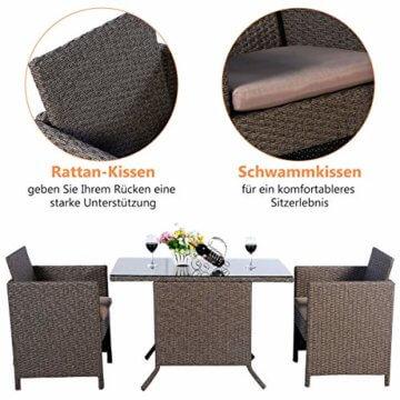 COSTWAY 3tlg. Poly Rattan Gartenmöbel, Rattanmöbel Lounge Set Gartenlounge Gartengarnitur Sitzgarnitur, Sitzgruppe inkl. Glasplatte und Sitzkissen - 4