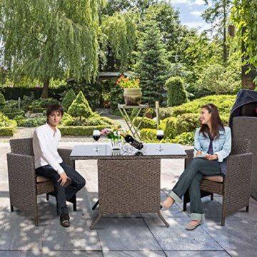 COSTWAY 3tlg. Poly Rattan Gartenmöbel, Rattanmöbel Lounge Set Gartenlounge Gartengarnitur Sitzgarnitur, Sitzgruppe inkl. Glasplatte und Sitzkissen - 5