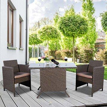 COSTWAY 3tlg. Poly Rattan Gartenmöbel, Rattanmöbel Lounge Set Gartenlounge Gartengarnitur Sitzgarnitur, Sitzgruppe inkl. Glasplatte und Sitzkissen - 8