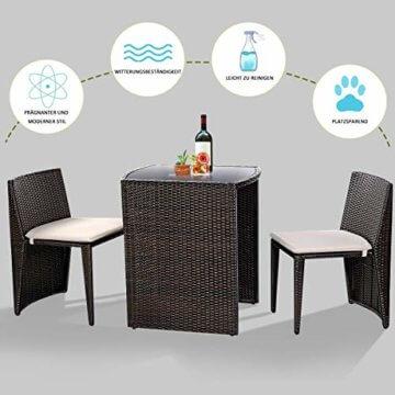 COSTWAY 3tlg. Rattanmöbel Polyrattan, Gartenmöbel Gartenlounge Gartengarnitur Sitzgruppe Lounge Set Sitzgarnitur Gartenset, inkl. Glasplatte und Sitzkissen - 2
