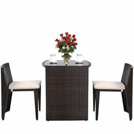 COSTWAY 3tlg. Rattanmöbel Polyrattan, Gartenmöbel Gartenlounge Gartengarnitur Sitzgruppe Lounge Set Sitzgarnitur Gartenset, inkl. Glasplatte und Sitzkissen - 1