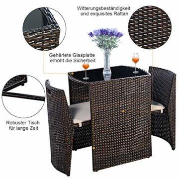 COSTWAY 3tlg. Rattanmöbel Polyrattan, Gartenmöbel Gartenlounge Gartengarnitur Sitzgruppe Lounge Set Sitzgarnitur Gartenset, inkl. Glasplatte und Sitzkissen - 5