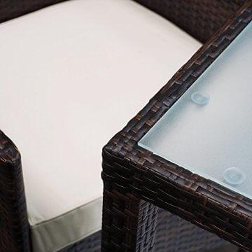 Deuba Poly Rattan Sitzgruppe 6 Stapelbare Stühle Gartentisch 7cm Sitzauflagen Gartenmöbel Sitzgarnitur Garten Set Braun - 2