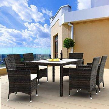 Deuba Poly Rattan Sitzgruppe 6 Stapelbare Stühle Gartentisch 7cm Sitzauflagen Gartenmöbel Sitzgarnitur Garten Set Braun - 3
