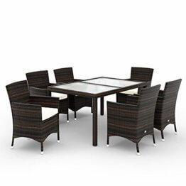 Deuba Poly Rattan Sitzgruppe 6 Stapelbare Stühle Gartentisch 7cm Sitzauflagen Gartenmöbel Sitzgarnitur Garten Set Braun - 1