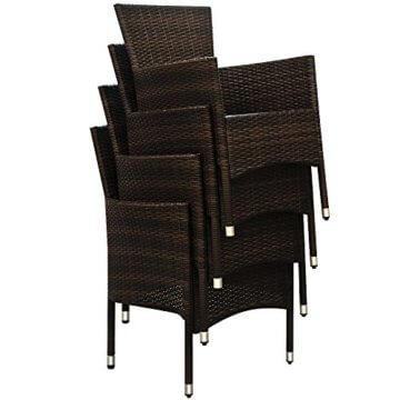 Deuba Poly Rattan Sitzgruppe 6 Stapelbare Stühle Gartentisch 7cm Sitzauflagen Gartenmöbel Sitzgarnitur Garten Set Braun - 4