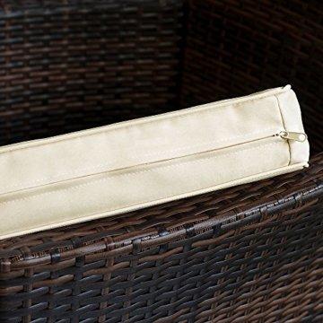 Deuba Poly Rattan Sitzgruppe 6 Stapelbare Stühle Gartentisch 7cm Sitzauflagen Gartenmöbel Sitzgarnitur Garten Set Braun - 5
