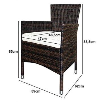 Deuba Poly Rattan Sitzgruppe 6 Stapelbare Stühle Gartentisch 7cm Sitzauflagen Gartenmöbel Sitzgarnitur Garten Set Braun - 7