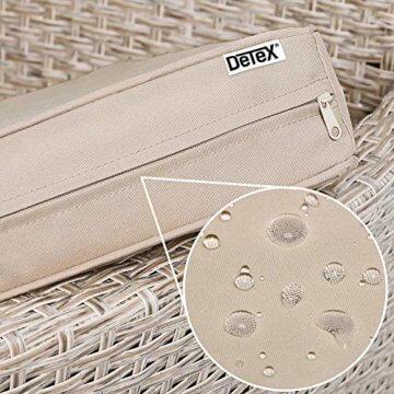Deuba Poly Rattan Sitzgruppe 8 Stapelbare Stühle Gartentisch 7cm Auflagen Sitzgarnitur Gartenmöbel Garten Set Grau Beige - 3
