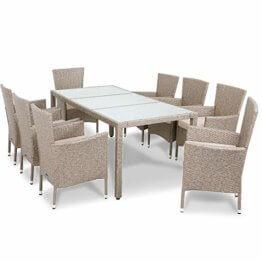 Deuba Poly Rattan Sitzgruppe 8 Stapelbare Stühle Gartentisch 7cm Auflagen Sitzgarnitur Gartenmöbel Garten Set Grau Beige - 1