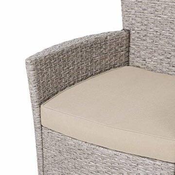 Deuba Poly Rattan Sitzgruppe 8 Stapelbare Stühle Gartentisch 7cm Auflagen Sitzgarnitur Gartenmöbel Garten Set Grau Beige - 5