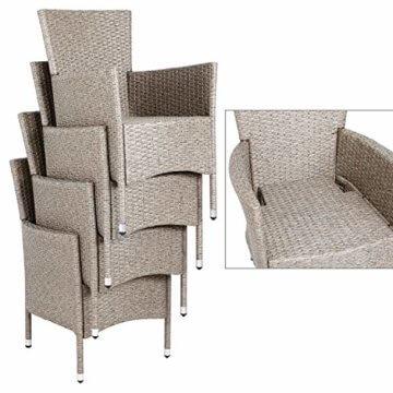 Deuba Poly Rattan Sitzgruppe 8 Stapelbare Stühle Gartentisch 7cm Auflagen Sitzgarnitur Gartenmöbel Garten Set Grau Beige - 6