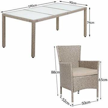 Deuba Poly Rattan Sitzgruppe 8 Stapelbare Stühle Gartentisch 7cm Auflagen Sitzgarnitur Gartenmöbel Garten Set Grau Beige - 8