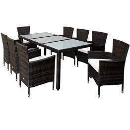Deuba Poly Rattan Sitzgruppe 8 Stühle Stapelbar 7cm Dicke Auflagen Gartentisch Gartenmöbel Sitzgarnitur Garten Set Braun - 1