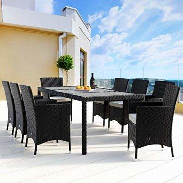 Deuba Poly Rattan Sitzgruppe Gartenmöbel WPC Gartentisch 8 Stapelbare Stühle Auflagen Sitzgarnitur Essgruppe Garten Set - 4