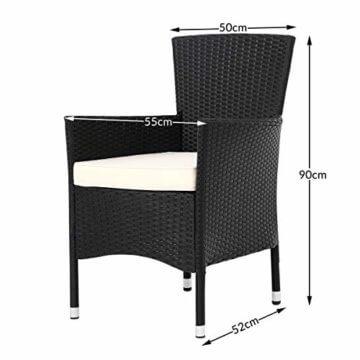 Deuba Poly Rattan Sitzgruppe Gartenmöbel WPC Gartentisch 8 Stapelbare Stühle Auflagen Sitzgarnitur Essgruppe Garten Set - 5