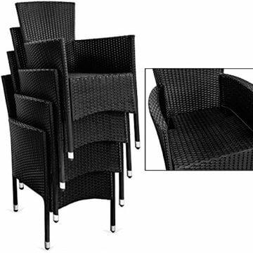 Deuba Poly Rattan Sitzgruppe Gartenmöbel WPC Gartentisch 8 Stapelbare Stühle Auflagen Sitzgarnitur Essgruppe Garten Set - 6