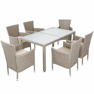Deuba Poly Rattan Sitzgruppe Grau Beige 6 Stapelbare Stühle 1 Tisch 7cm Dicke Auflagen Sitzgarnitur Gartenmöbel Garten - 1