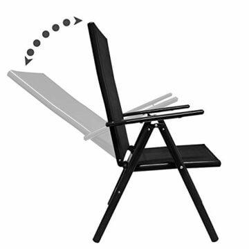 Deuba Sitzgruppe Bern 6+1 Aluminium 7-Fach verstellbare Hochlehner Stühle Tisch mit Sicherheitsglas Anthrazit Garten Set - 2