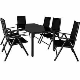 Deuba Sitzgruppe Bern 6+1 Aluminium 7-Fach verstellbare Hochlehner Stühle Tisch mit Sicherheitsglas Anthrazit Garten Set - 1