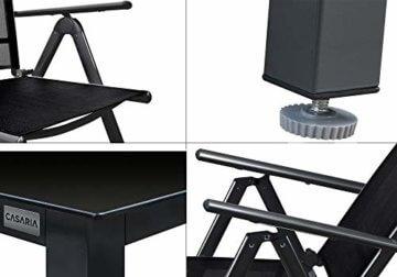 Deuba Sitzgruppe Bern 6+1 Aluminium 7-Fach verstellbare Hochlehner Stühle Tisch mit Sicherheitsglas Anthrazit Garten Set - 7