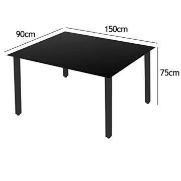 Deuba Sitzgruppe Bern 6+1 Aluminium 7-Fach verstellbare Hochlehner Stühle Tisch mit Sicherheitsglas Anthrazit Garten Set - 8