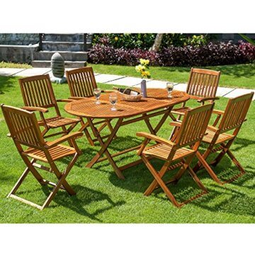 Deuba Sitzgruppe Boston 6+1 FSC®-zertifiziertes Akazienholz 7-TLG Tisch klappbar Sitzgarnitur Holz Gartenmöbel Garten Set - 2