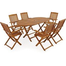 Deuba Sitzgruppe Boston 6+1 FSC®-zertifiziertes Akazienholz 7-TLG Tisch klappbar Sitzgarnitur Holz Gartenmöbel Garten Set - 1